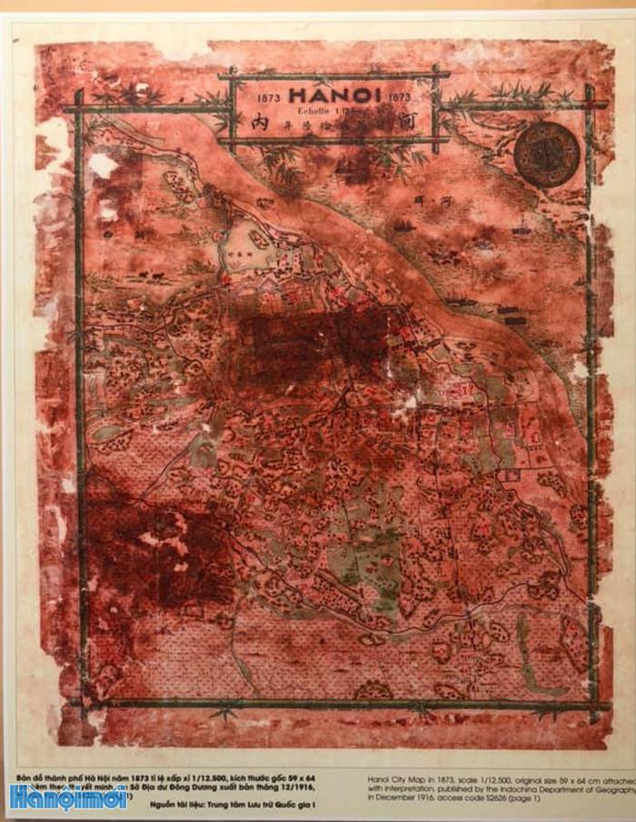 Bản đồ Hà Nội năm 1873. Lúc này Hà Nội đã trở thành một tỉnh như 30 tỉnh khác trên đất Việt Nam. Phủ Hoài Đức trở thành một trong 4 phủ hợp thành tỉnh Hà Nội.